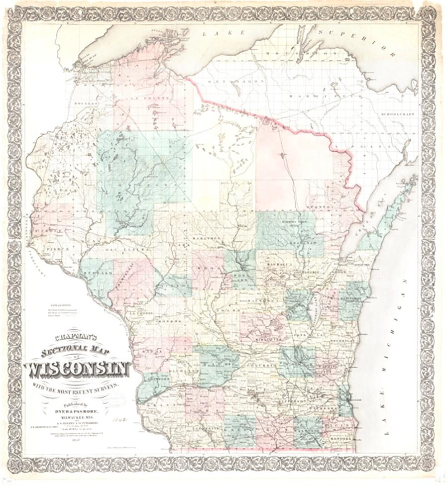 Map of 1857 Map of Wisconsin