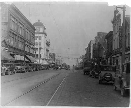Photo of Third Street, Streetscene with Trolley Tracks, Cars & Build