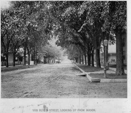 Photo of Streetscene, Tree-lined Van Buren looking up from Mason