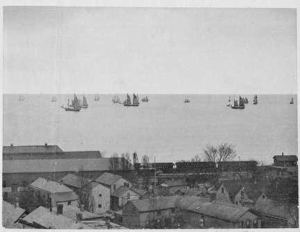 Photo of Early View of Milwaukee's Lakefront and Houses in 1880s