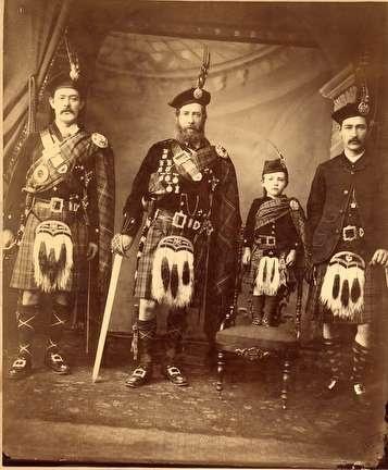 Photo of Formal Portrait of Scottish Men in Full Regalia