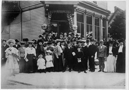 Photo of Group Portrait Outside Dreher's Restaurant