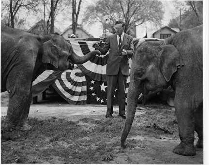 Photo of Mayor Frank P. Zeidler and Elephants