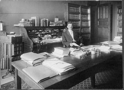 Photo of Daniel Hoan at Desk, Mayor of Milwaukee, 1916-1940
