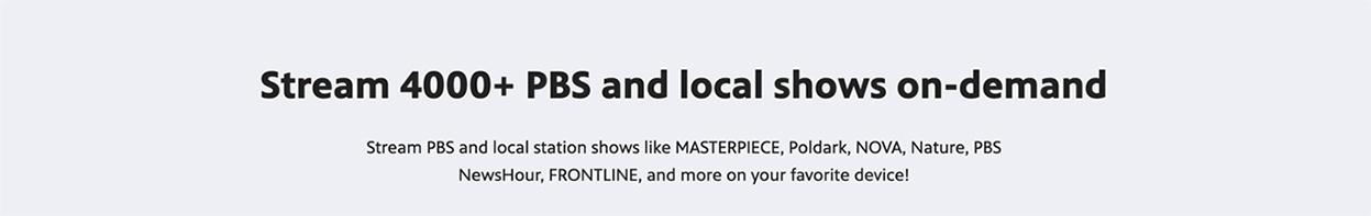 Stream 4000 + PBS and local shows on-demand