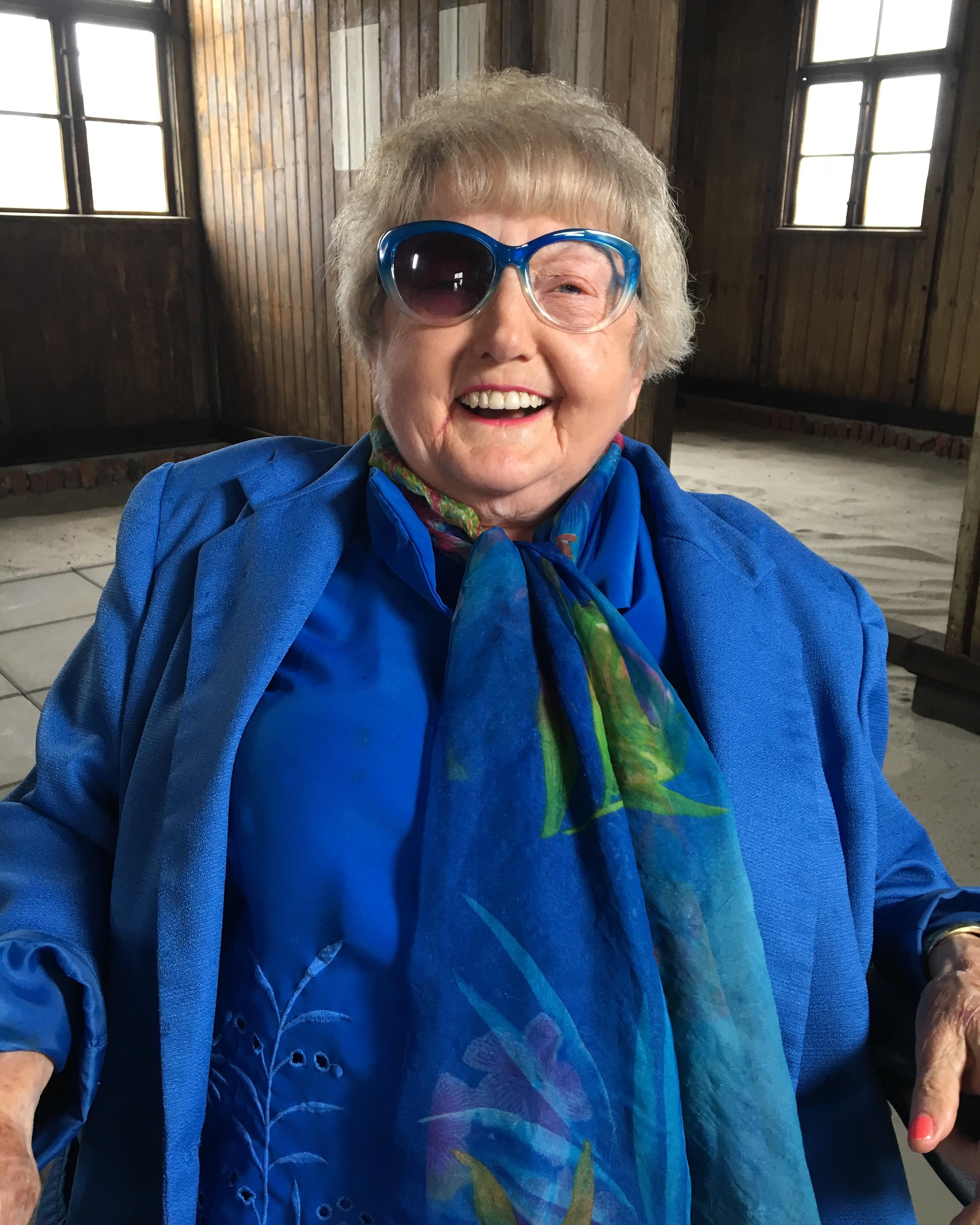 The funny side of Eva Kor - laughing after a lens dropped out of her sunglasses.
