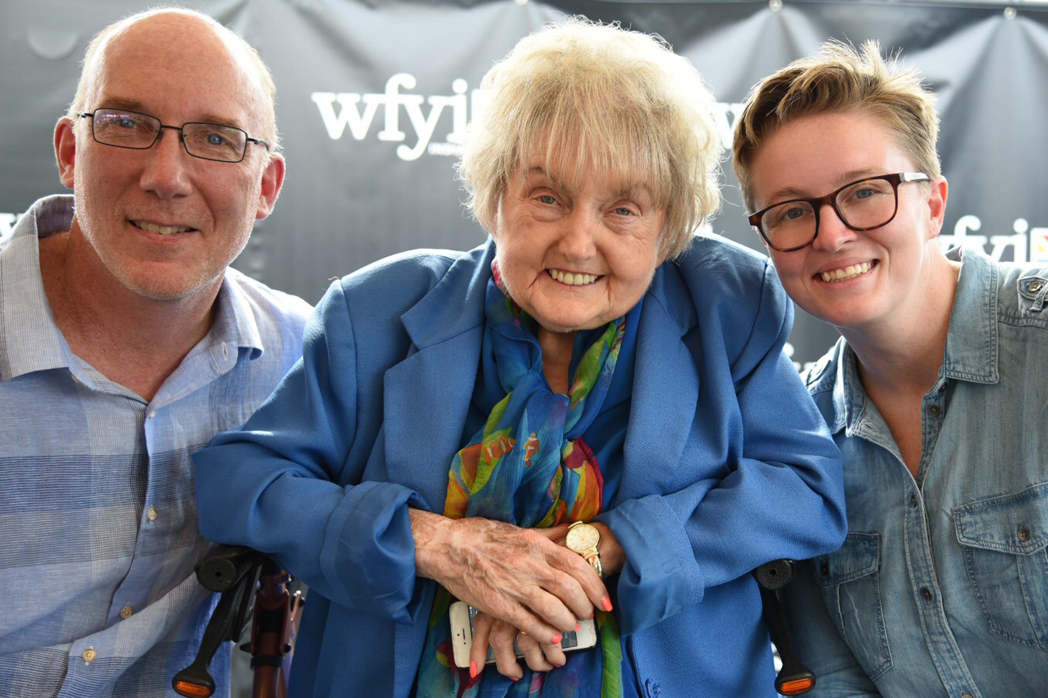 Eva Kor with Ted Gree and Mika Brown at the Indiana State Fair.