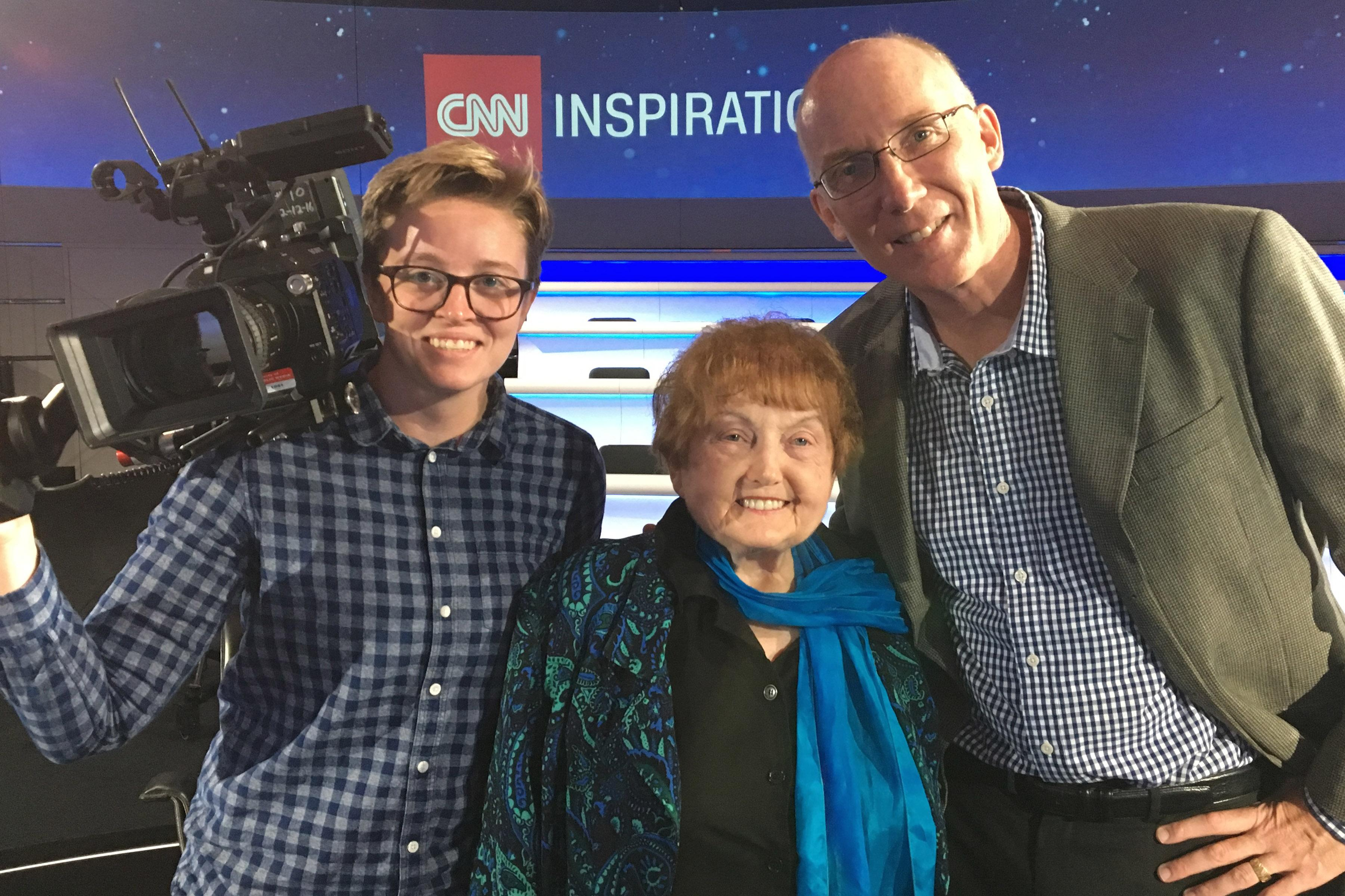 Ted Green, Mika Brown, and Eva Kor at the CNN London studio.