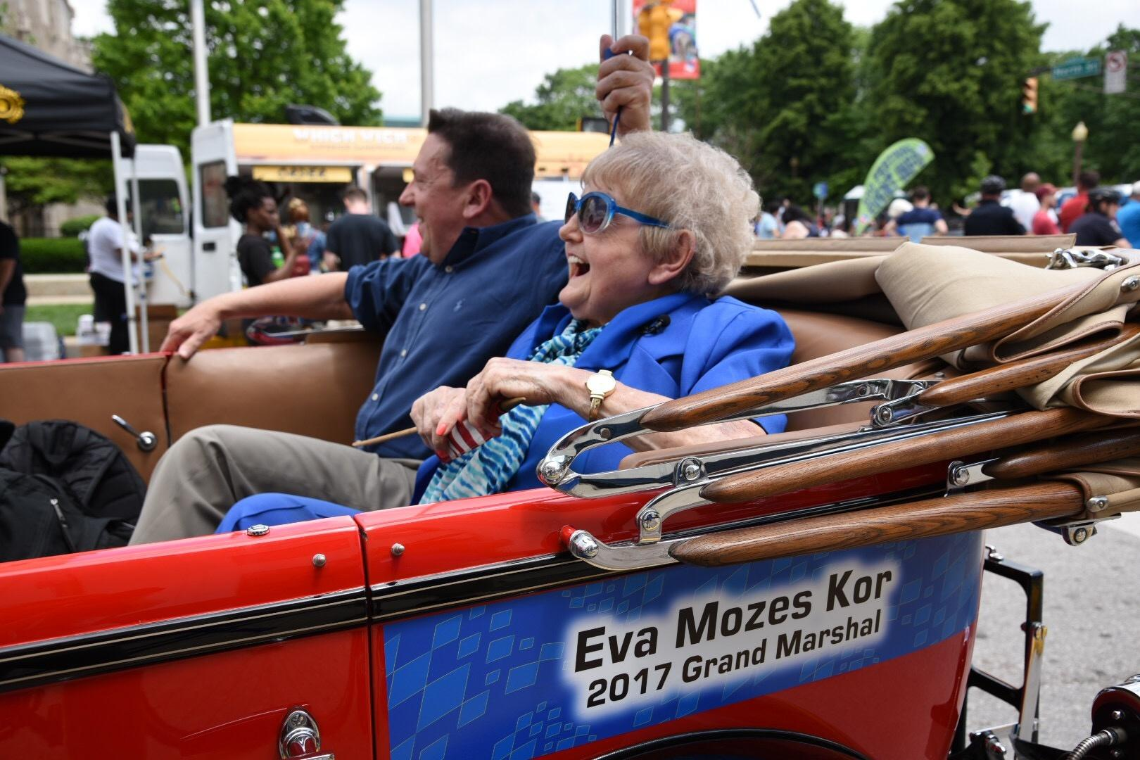 Eva Kor as the 2017 Grand Marshall for the OneAmerica 500 Festival Parade in Indianapolis.