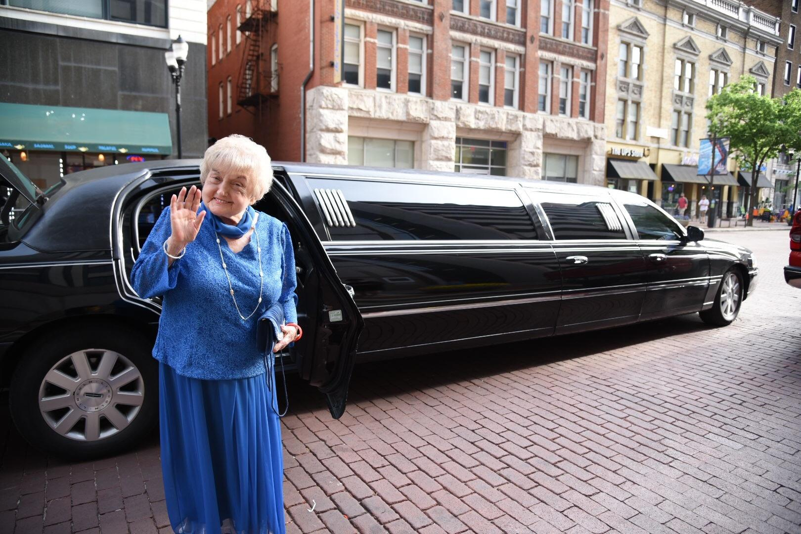 Eva Kor arrives at the Snakepit Ball the night before the Indianapolis 500.