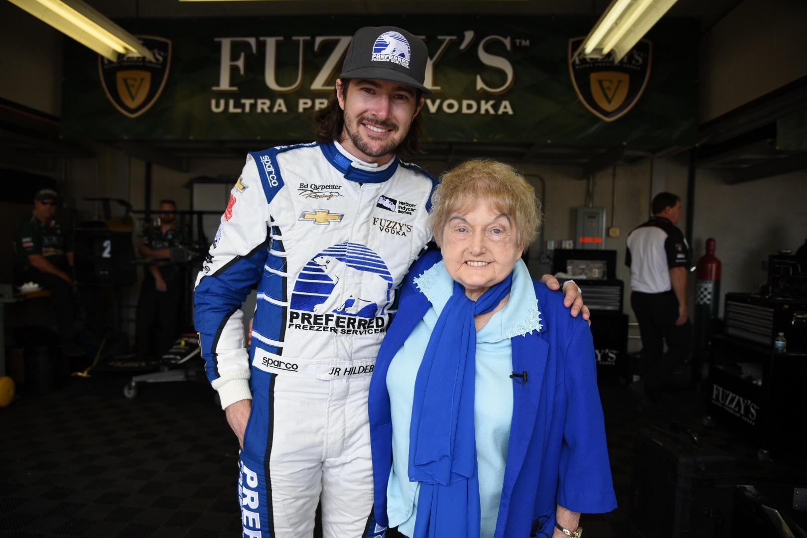 Eva Kor with Indianapolis 500 driver JR Hildebrand.