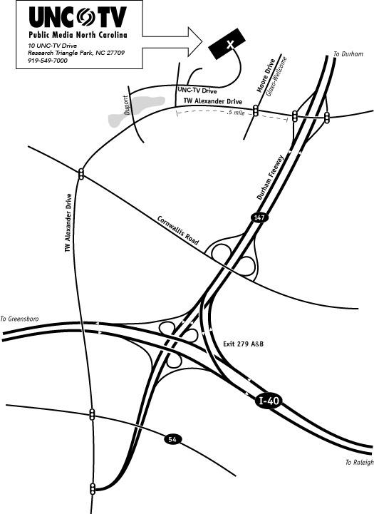 Map to UNC-TV