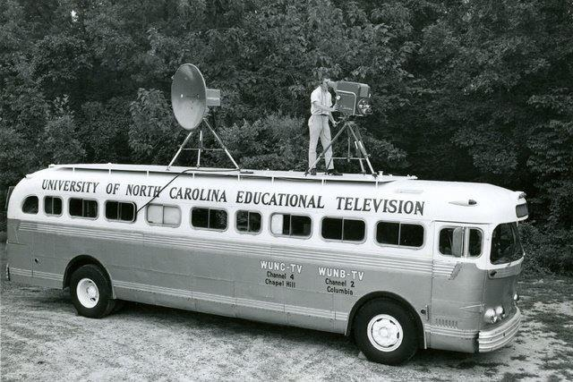 Vintage photo of UNC ETV Mobile Unit (bus)