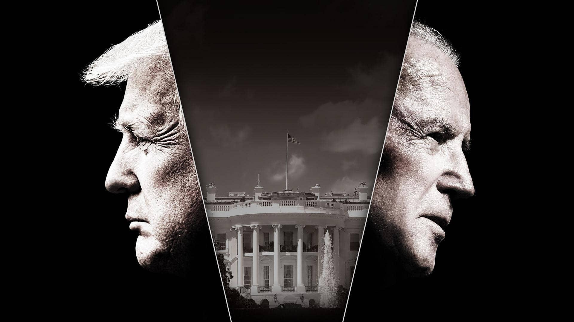 A black and white image of Donald Trump and Joe Biden with an inset of the White House