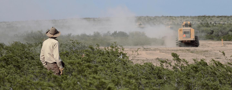 An archaeologist observes pipeline construction in A Texas Myth.