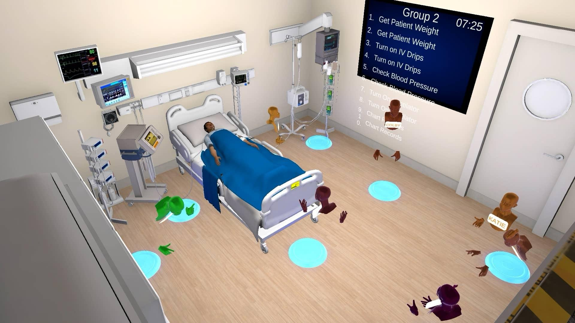 """A simulated virtual ICU room in a hospital with a patient in a bed surrounded by various equipment and several avatars of students circled around the bed. A large billboard on the wall lists tasks like """"Get patient weight"""" """"Turn on IV Drips"""" """"Check Blood Pressure""""."""