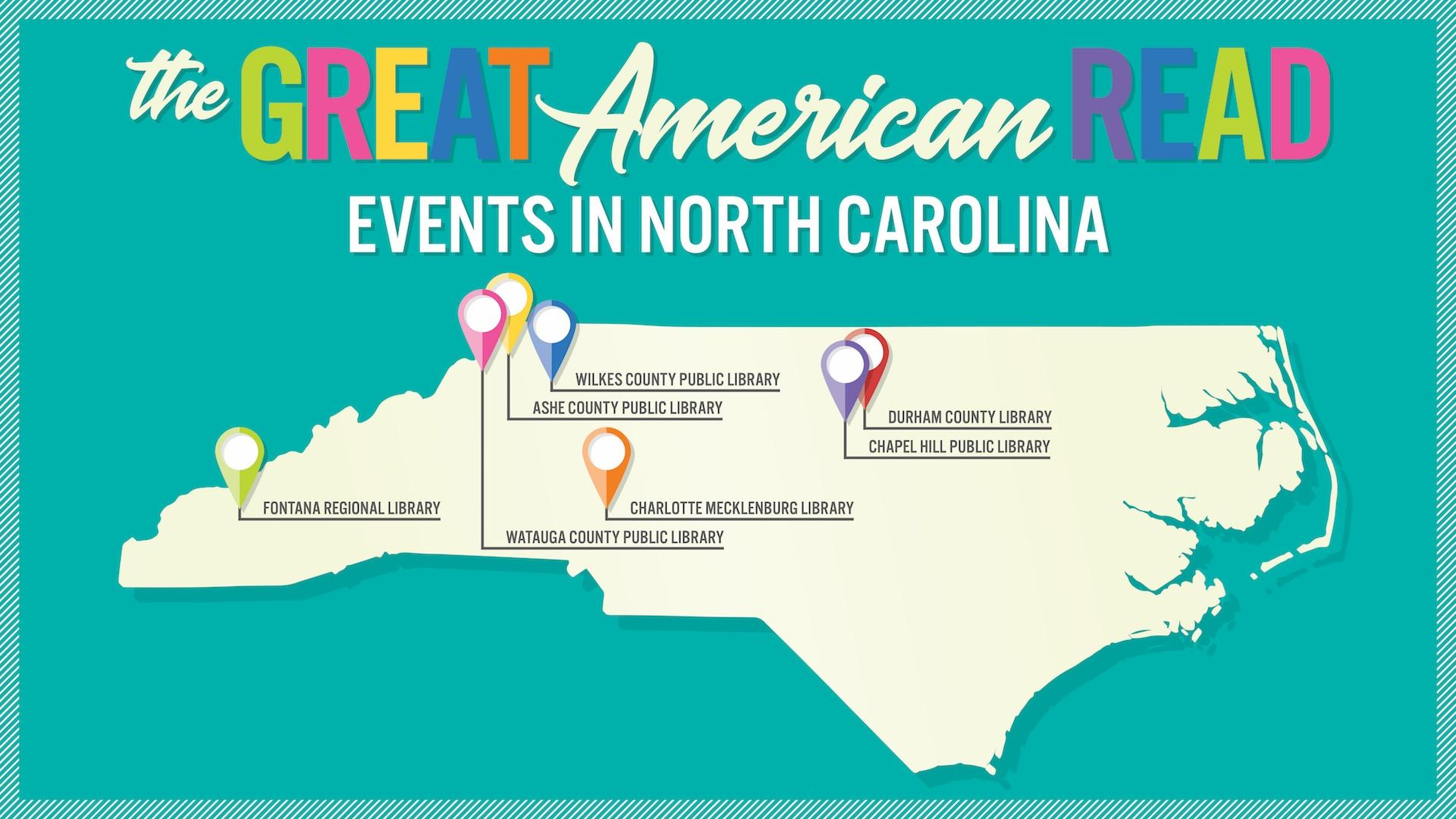 Map of NC with location markers for events in NC