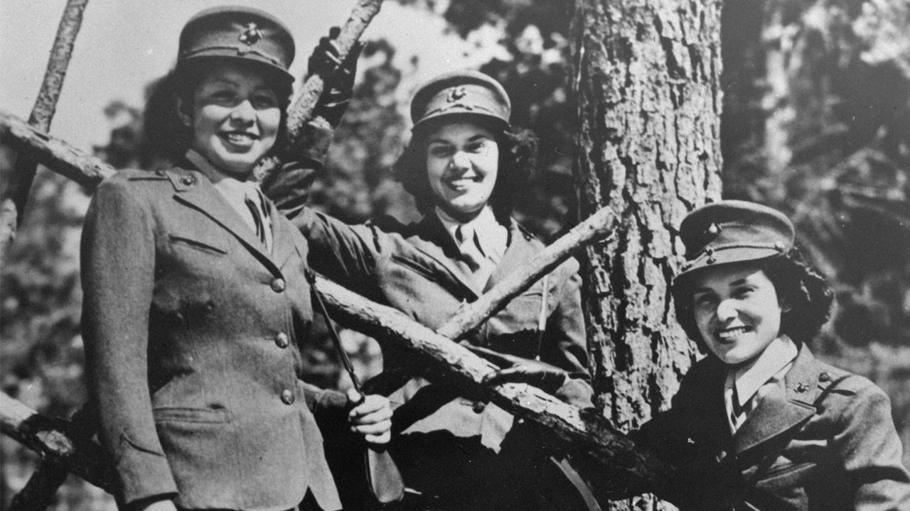 Native American women reservists with the U.S. Marine Corps at Camp Lejeune, 1943