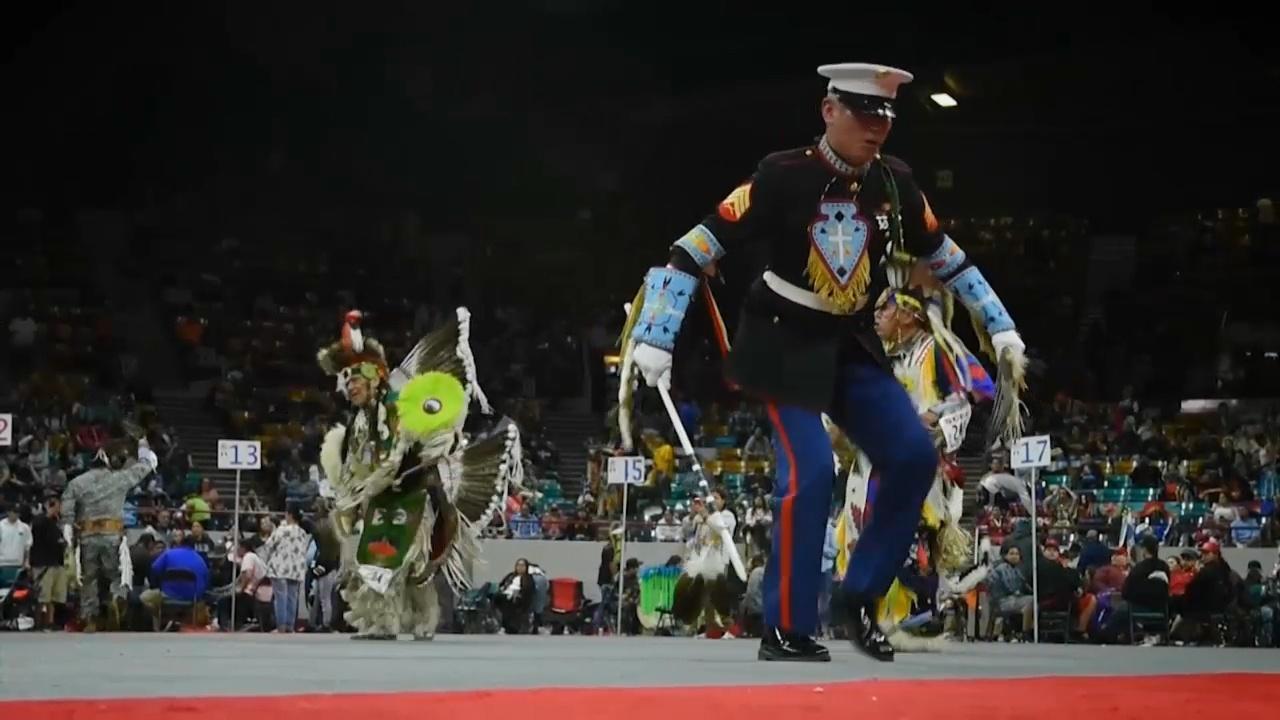 Marine dancing at Powwow