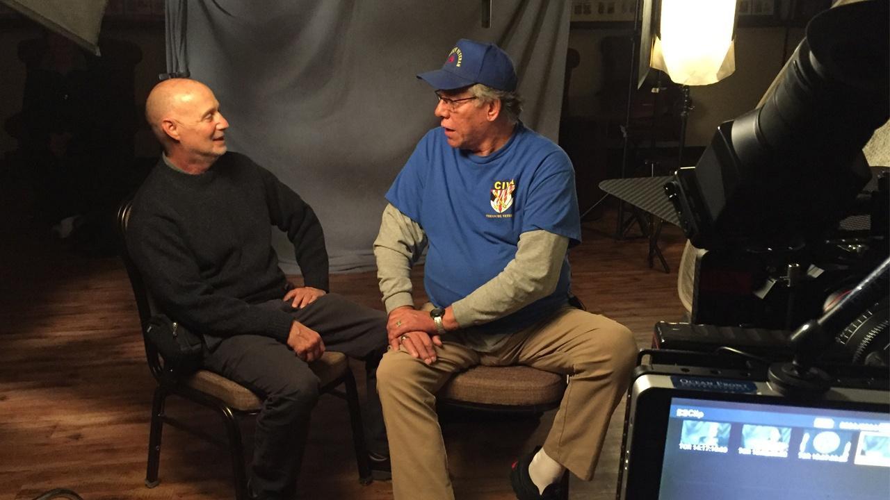 Producer Lawrence Hott with Lanny Aspermey, Comanche and Kiowa, U.S. Army