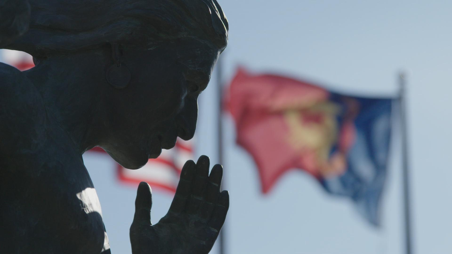 """Spirit Talker"" statue at the Comanche Indian Veterans Association Court of Honor"