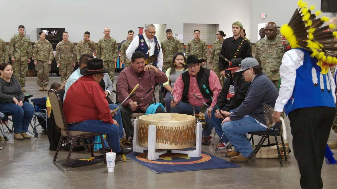 drum circle at Comanche Indians Veterans Association Celebration and Powwow