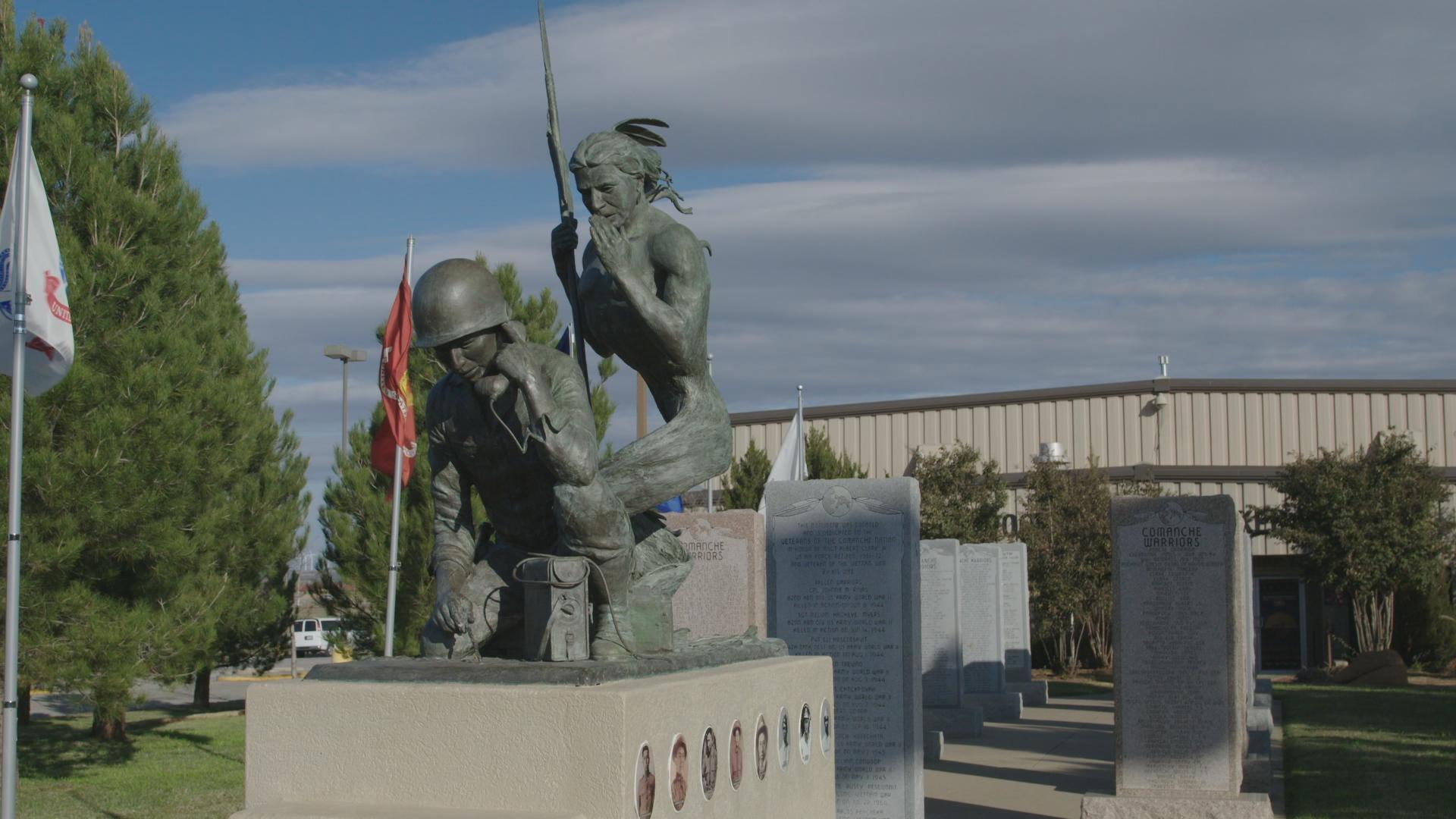 """Spirit Talker"" statue at the Comanche Indian Veterans Association Court of Honor"
