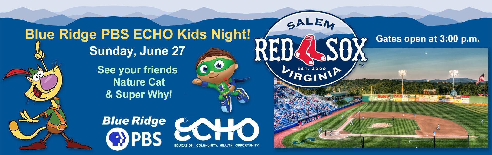 Blue Ridge PBS ECO Kids Night at the Salem Red Sox