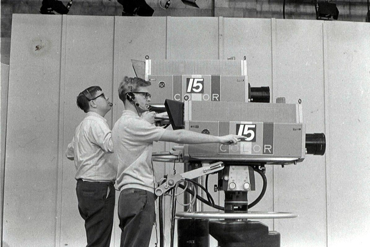 Studio cameras and operators in the late 1960s.