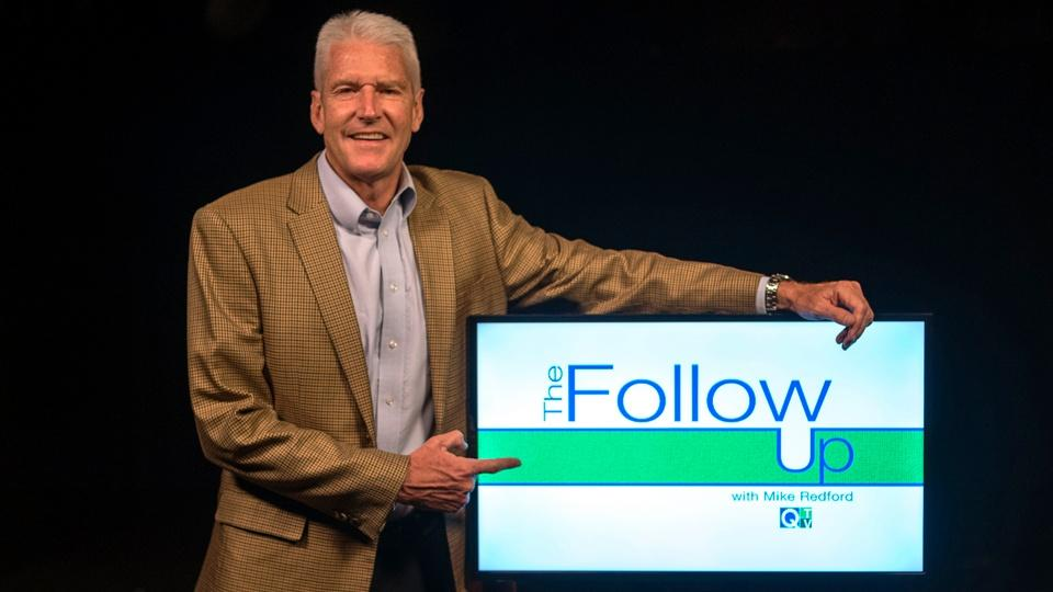 Host Mike Redford with The Follow Up logo.
