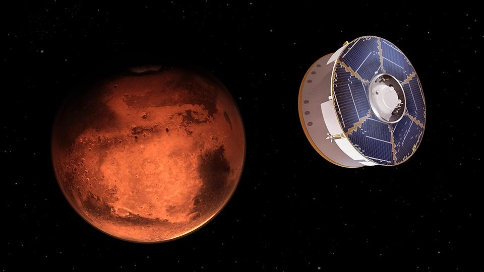 An animation of a space probe approaching Mars.