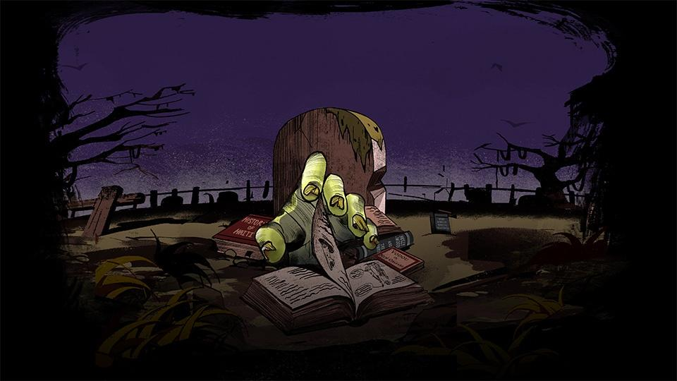 A drawing of a zombie hand rising from the grave to turn the pages in a book.