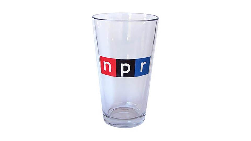Clear pint glass with NPR logo.