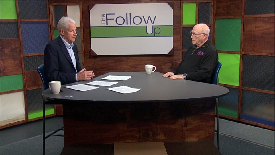 Host Mike Redford and guest Art Lewis on the Follow Up set.