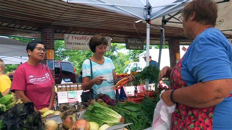Two women shopping at a farmer's market.