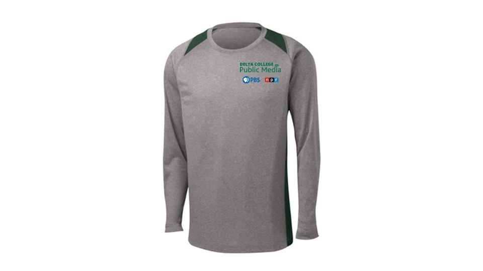 Long-sleeve gray shirt with Delta College Public Media logo.
