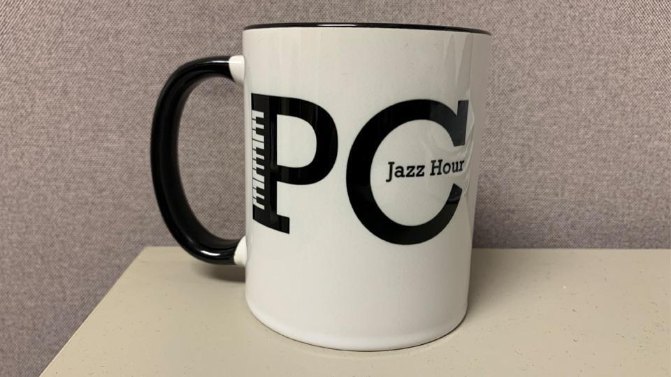 Coffee mug with PC Jazz Hour logo.