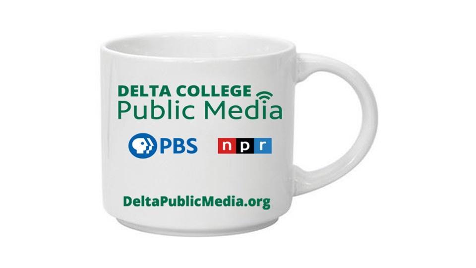 White coffee mug with Delta College Public Media logo.