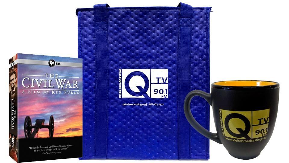 Ken Burns' The Civil War DVDs, a Delta Broadcasting insulated tote bag, and a Delta Broadcasting bistro mug.