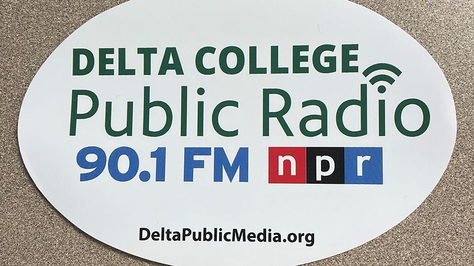 Bumper sticker with Delta College Public Radio logo.