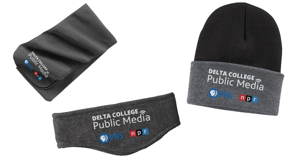 Gray scarf, headband, and hat with Delta College Public Media logo.