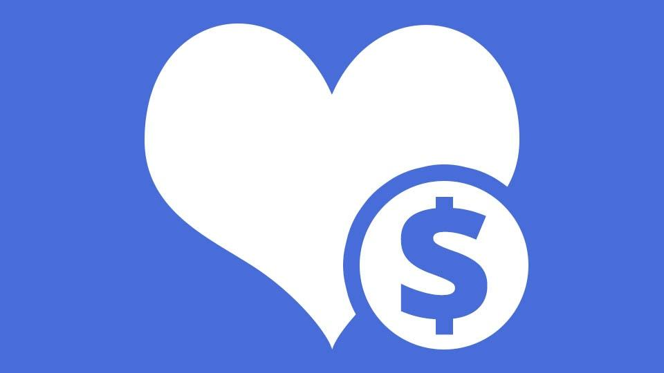 A stylized heart with a dollar sign on a coin.