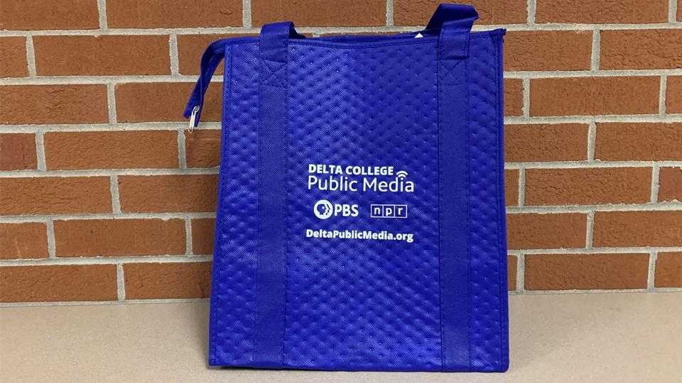 Insulated tote bag with Delta College Public Media logo.