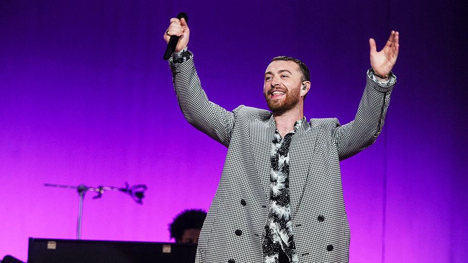 Sam Smith on stage.
