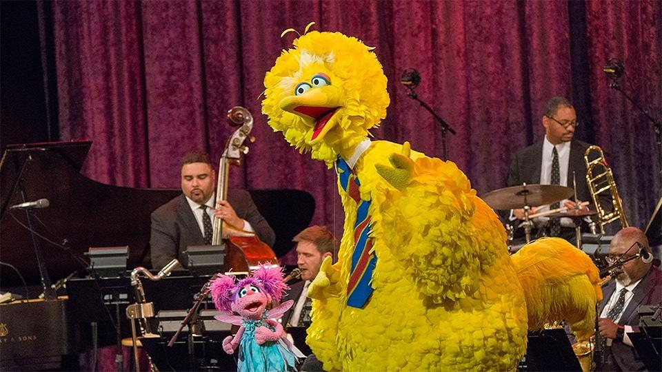 Big Bird and Abby Cadabby on stage with the Jazz at Lincoln Center Orchestra.