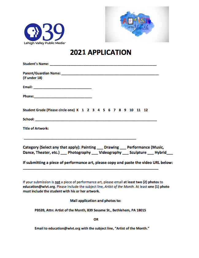 2020 Application for PBS39's Artist of the Month