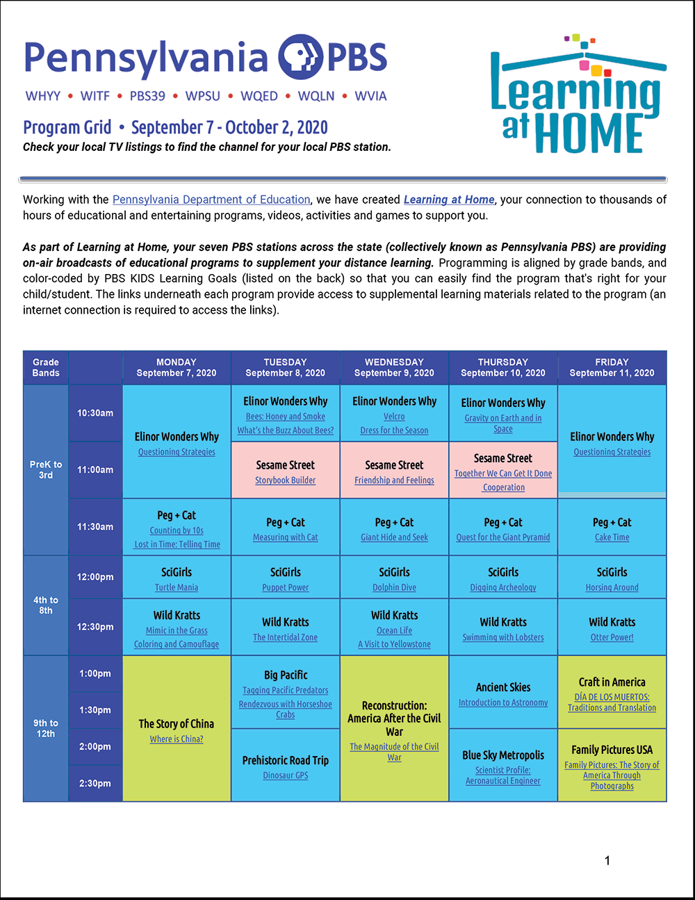 Learning at Home - September Schedule