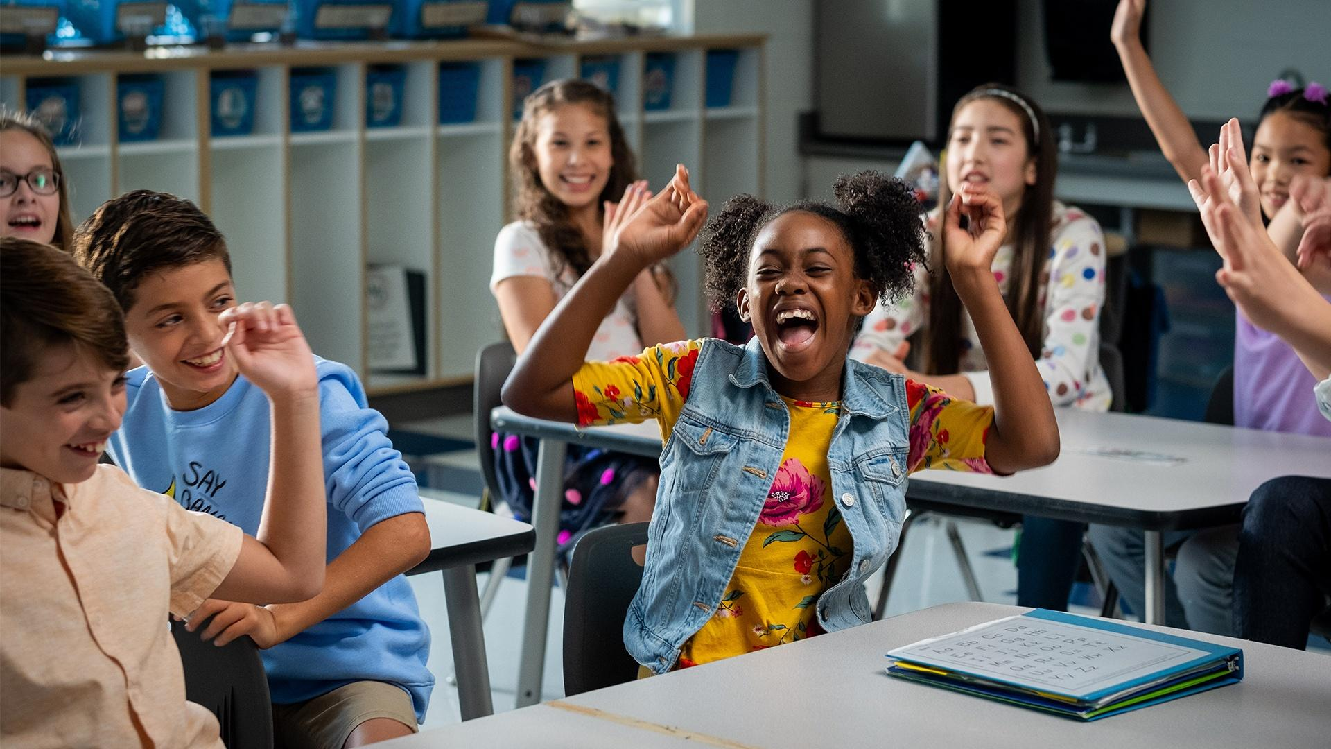 Kids excited to learn in the classroom