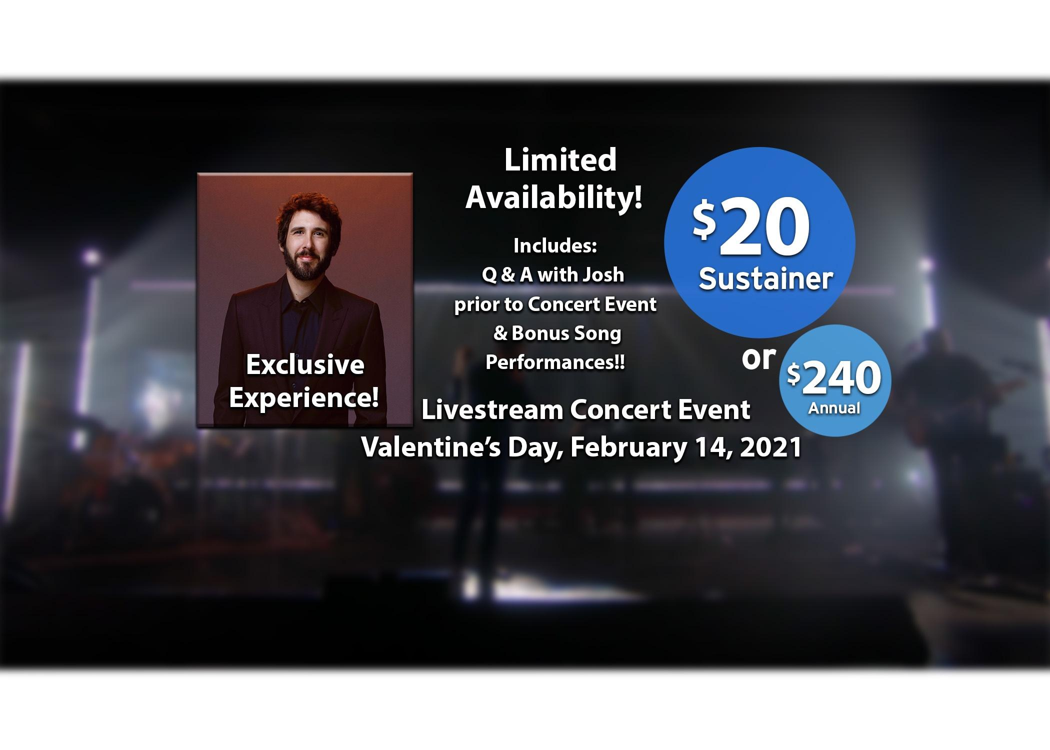 Josh Groban VIP Package, Tote bag, Harmony CD, soundcheck, livestream - Become a sustaining member $20 or $20 Annual