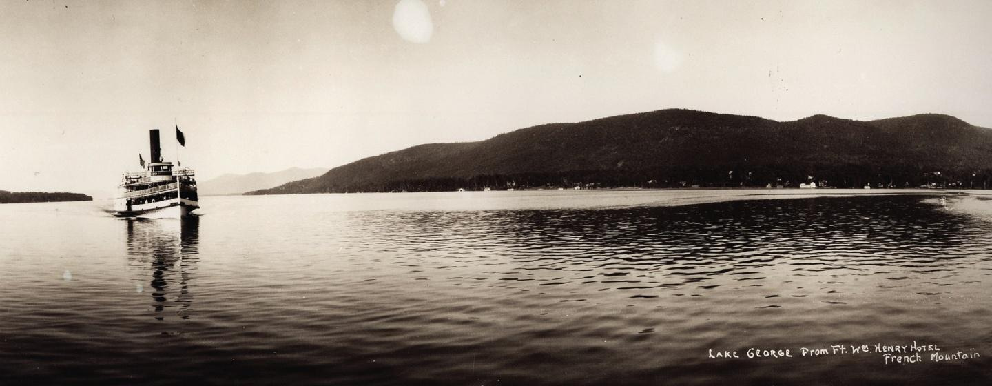 Vintage Negative of Lake George from the Ft Wm Henry Hotel French Mountain